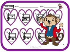 Treble Staff Note Name Worksheet. Music Education Activities, Creative Activities, Valentine Music, Valentines, Music For Young Children, Music Worksheets, Teacher Notebook, Piano Teaching, Learning Styles