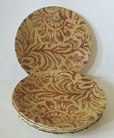 Melamine Picnic Plastic Plates Beige Brown Floral Earth Tones Round Precidio  sc 1 st  Pinterest & Melamine Serving Platter Tray Plate Dish Yellow Red Floral Oval 18 ...