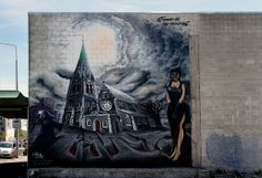 Artist.. Jonny 4Higher. Street art   Mural of Christchurch Cathedral.
