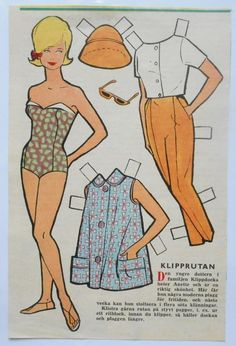Klipprutan - Danish(?) Norwegian(?) Single Page Magazine Paper Doll  - 1960