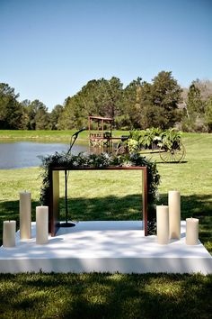 Outdoor Ceremony Altar http://www.7centerpieces.com/houston-ranch-wedding-by-serendipity/ | Serendipity Photography (http://www.serendipity-photography.com/)
