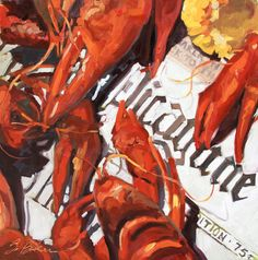 "New Orleans Crawfish on a Times Picayune Still Life Print, ""Good Times"", 10"" x 10"" , print of oil painting"