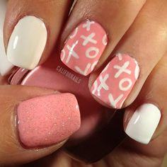 XOXO! The pastel pink is by #thefaceshop with xoxo done in gel pen and China Glaze's Fairy Dust over the thumb. @californails