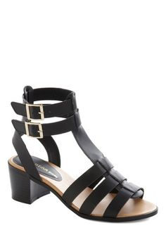 Design Thesis Heel - Mid, Faux Leather, Black, Solid, Buckles, Party, Good, Chunky heel, Strappy, Daytime Party