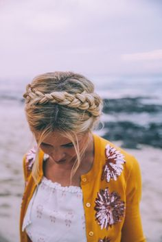 A romantic heidi braid on the barefoot blonde