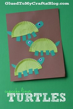 Cupcake Liner Turtles - Kid Craft Kid crafts kid craft ideas #kids #craft