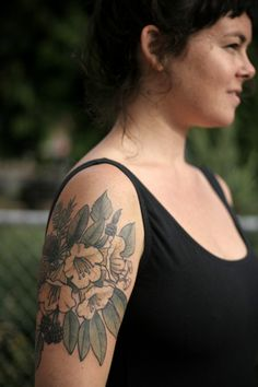 """alicecarrier: """" Rhododendron, blackberry, and fir cones. Thanks Kelly! """" tattoo by alice carrier!"""