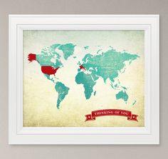 customized travel world map art print 8x10 by corkandbirchmaps