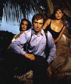 LICENSE TO KILL Babes. Carrie Lowell and Talisa Soto with Timothy Dalton (Bond).