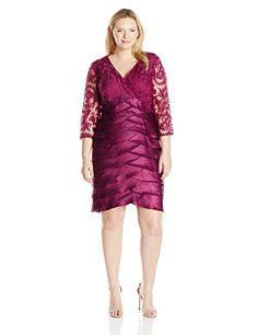 777e1239518 Adrianna Papell Womens PlusSize Shimmer Shutter Tuck Lace Dress Plum 18W     You can find
