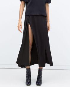 STUDIO DOUBLE SLIT LONGLINE SKIRT - Skirts - Woman - COLLECTION AW15   ZARA United States