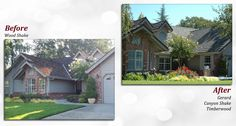 Before & after of a Gerard Stone Coated Steel Roof. Profile: Canyon Shake. Color: Timberwood