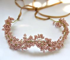 Bridal Mauve Pink Hair Wreath Baby's Breath by Rozenhandmade $128