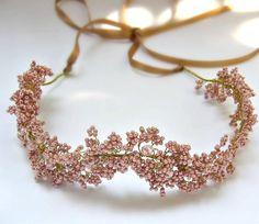Дыхание Люкс лиловый розовые волосы Венок младенца по Rozenhandmade