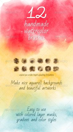 12 Watercolor Handmade Brushes  - Photoshop Brushes • Download ➝…