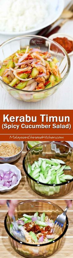 Kerabu Timun (Spicy Cucumber Salad) is a spicy and appetizing Malaysian salad that is sure to whet your appetite. Best eaten freshly tossed with lots of steamed rice. | MalaysianChineseKitchen.com