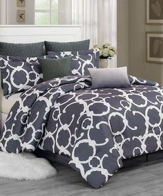 Gray Rhys Hotel Quilted Overfilled Comforter Set