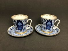 Set 2 Lomonosov Porcelain Kizhi Cobalt Blue Teacup & Saucer St Petersburg Russia #Lomonosov Tea Cup Set, Tea Cup Saucer, St Petersburg Russia, Cobalt Blue, Trinidad And Tobago, Croatia, Tea Time, Thailand, Saints