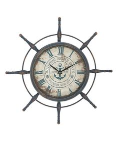 Look what I found on #zulily! Metal Ship Wheel Wall Clock #zulilyfinds