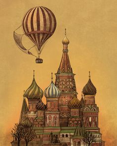 Trip to Moscow Art Print by Terry Fan Illustrations, Illustration Art, Air Balloon, Balloons, Terry Fan, Russian Art, Russian Culture, Canvas Prints, Art Prints