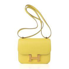 Guaranteed authentic Hermes 18 Constance bag features fabulous rare Lime in Swift leather.Rare with gold...