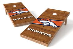 Denver Broncos Cornhole Board Set - Logo - Stripe Bag Upgrade