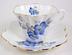 Vintage Fluted Tea Cup Bone China Blue Flowers Gray Leaves Scalloped Gold Trim