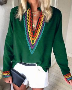 Ethnic Colorblock Long Sleeve Casual Blouse Women's Best Online Shopping - Offering Huge Discounts on Dresses, Lingerie , Jumpsuits , Swimwear, Tops and More. Bohemian Chic Fashion, Bohemian Style, Ethnic Style, Blouse Online, Printed Blouse, Pattern Fashion, Look Fashion, Long Sleeve, Short Sleeves