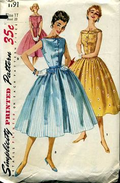 Simplicity 1191 [1957] I actually made a dress from this exact pattern when I was in high school - the blue version, and I loved it!