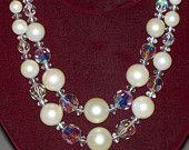 Vintage Aurora Borealis & Faux Pearl Double Strand Necklace