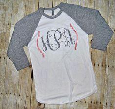 Monogrammed Baseball Style Tee Shirt – Southern Stitch'n