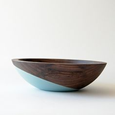Beautifully refined wooden bowl, carefully hand dipped in a simple and modern crossed color pattern in Sage Green.