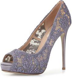 Valentino Crystal Lace Peep-Toe Platform Pump, Pewter
