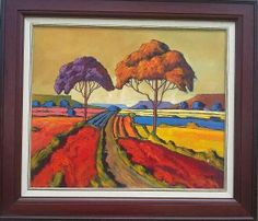Cornelius Bosch South African Artists, Cornelius, Naive Art, Tree Art, Beautiful Landscapes, Artsy Fartsy, Doodles, Oil Paintings, Bobs