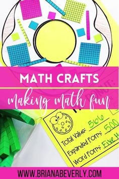 Math crafts that make math class more fun! These hands-on math activities review a variety of 2nd grade CCSS standards, and are the perfect thing to use as an end of unit review, or a fun project in the middle of learning about a math skill.