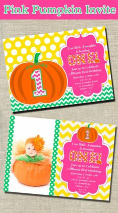 Pink Pumpkin Party Invitation Printable Fall Party  by OpalandMae