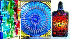 32 Insanely Beautiful Upcycling Projects For Your Property -Recycled Glass Bottle Projects Recycled Glass Bottles, Glass Bottle Crafts, Craft Projects For Adults, Diy Projects, Project Ideas, Carillons Diy, Coca Cola, Pots, Diy Wind Chimes