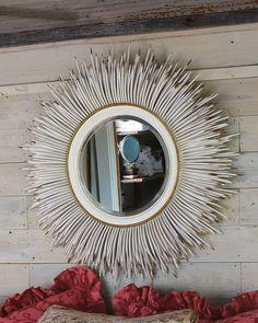 white porcupine quill mirror