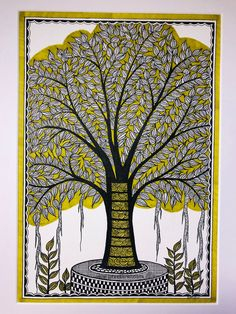 Kalpvriksha- The Tree Of Life 10 by Pratibha Madan Pichwai Paintings, Indian Art Paintings, Mural Painting, Painting & Drawing, Tree Of Life Artwork, Tree Of Life Painting, Madhubani Paintings Peacock, Madhubani Art, Colorful Drawings