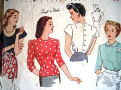 1940s Simplicity Sewing Pattern Bust 32 Gorgeous blouses with peter pan collars or scoop necks with button backs Bust 32 UK Seller