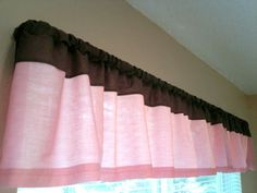 Baby girl pink and brown nursery curtain valance. $25.00, via Etsy.