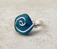 Peacock Blue Sea Glass Ring  Silver Swirl Wire by SherryKayDesigns, $18.00