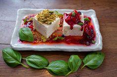 Sweet basil #semifreddo with #elderflower berries and #pistachio crumble