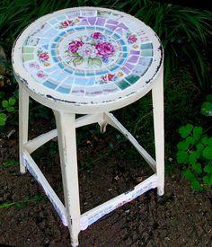 broken plate mosaic stool