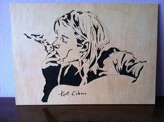 Kurt Cobain Nirvana wooden portrait scroll saw, $16