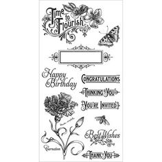 Cling Stamp Time to Flourish 1 Hampton Art for Graphic 45 Graphic 45, Online Craft Store, Craft Stores, Fabric Crafts, Paper Crafts, Birthday Congratulations, Hampton Art, Joann Fabrics, Carnations