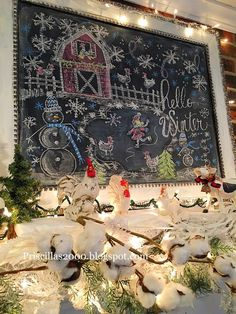 Winter on the Farm Mantel The mantel is all spiffied up for winter! The chalkboard has a barn and a little pond out front with a skater and … Chalkboard Doodles, Chalkboard Writing, Chalkboard Decor, Chalkboard Lettering, Chalkboard Quotes, Christmas Decorations For The Home, Christmas Signs, Christmas Crafts, Winter Decorations