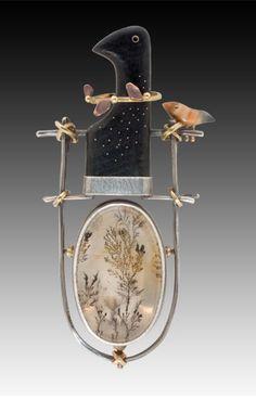 Carolyn Morris Bach. Bird Pin/Pendant Broche-pendentif oiseau argent, or, agate