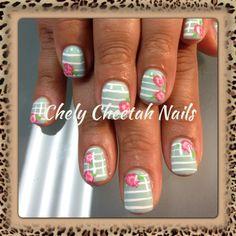 Chely Cheetah Nails. IBD Just Gel Polish. Vintage flower nail art. Overlay gel on natural nail.