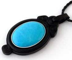 Blue Turquoise Stone Cabochon Handmade Genuine Leather Pendant